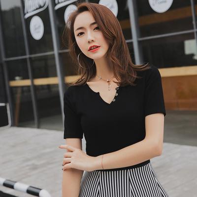 金丽都 2017夏新款短袖t恤女韩版女装纯色V领修身显瘦纯棉百搭体恤打底衫 96304