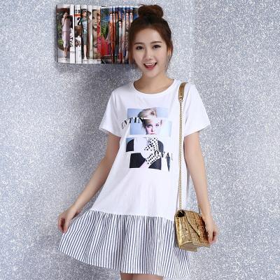 2017时尚大码韩版圆领孕妇装妈妈装T恤连衣裙 R6237