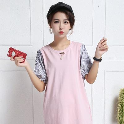 2017夏季新款韩版孕妇装圆领T恤短袖连衣裙 R6343