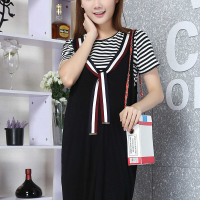 2017夏季新款条纹系带圆领孕妇装 连衣裙 R6346