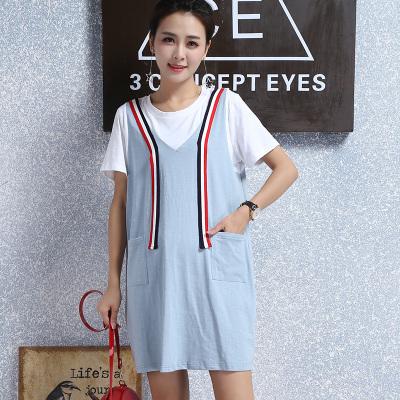 2017夏季新款韩版孕妇装系带假两件圆领短袖T恤连衣裙 R6352