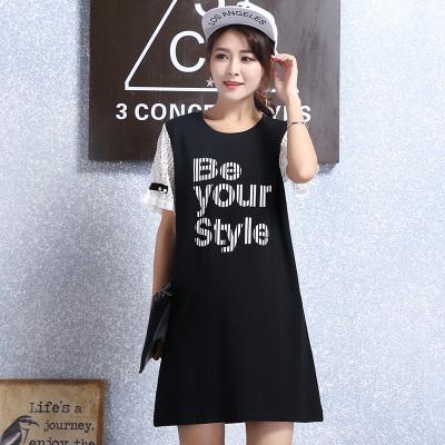 2017夏季韩版圆领蕾丝袖大码孕妇装字母T恤连衣裙 R6359
