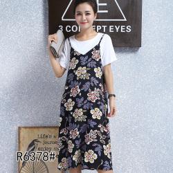 2017夏季新款韩版圆领碎花假两件T恤连衣裙 R6378