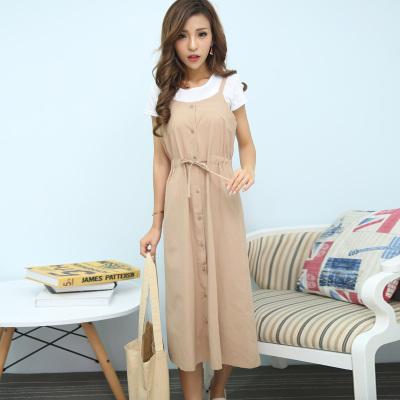 琴之云裳2017年新款上新时尚套装T恤加吊带连衣裙纯色