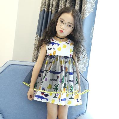 女童公主裙夏季2017新款儿童蓬蓬裙子时尚纯棉无袖网纱夏装连衣裙