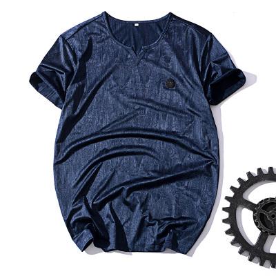 男士短袖T恤 韩版潮夏季纯棉学生体恤圆领修身衣服男装纽扣打底衫177509
