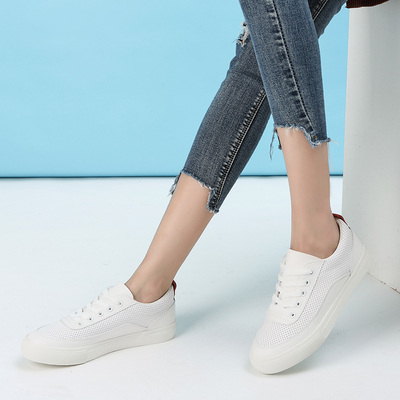 拓涵 新款韩版学院风舒适真皮小白鞋 TH57A005