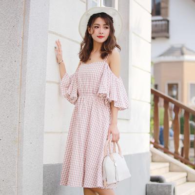 2017夏季新款日系甜美小清新女荷叶边休闲格仔吊带裙连衣裙L20171050