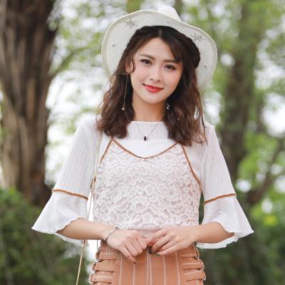 2017新款夏季韩版清新甜美百搭撞色蕾丝吊带背心雪纺衫L20171051