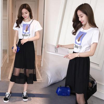 女人志 2017韩版女装夏装新款收腰显瘦印花假两件中长款连衣裙潮8706