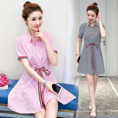 女人志 2017夏季新款韩版学院风条纹衬衫裙松紧腰短袖连衣裙