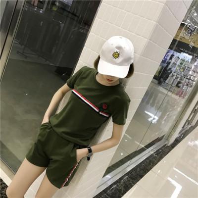 女人志 2017夏季新款韩版休闲运动套装纯棉圆领玫瑰花刺绣套装845