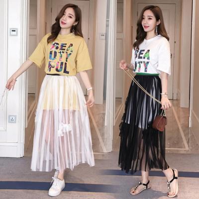 女人志 时尚圆领字母印花中长款T恤连衣裙+高腰网纱裙两件套8707