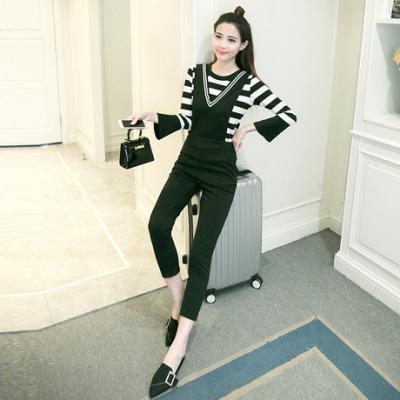 【女人志】实拍春装新款潮套装女韩版气质时尚背带连体裤夏季两件套女装045#