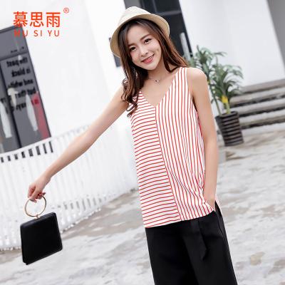 2017夏季新款韩版雪纺衫V领吊带背心女打底衫无袖宽松上衣SY11805