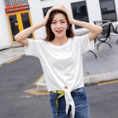 2017夏季新品韩版T恤女圆领打底裤不规则绑带宽松短袖上衣SY11815