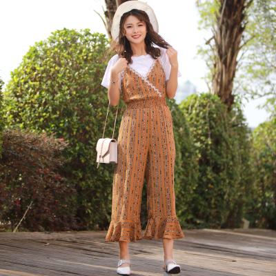 2017新款夏季清新甜美日系复古风显瘦T恤九分连体阔腿裤女两件套L20171039