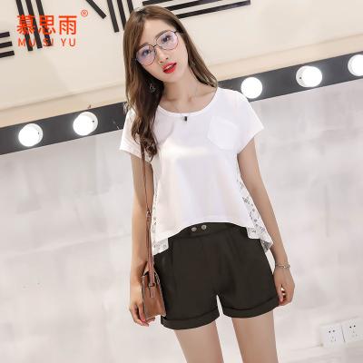 慕思雨2017夏季新款韩版圆领纯色T恤女蕾丝上衣不规则短袖打底衫11856