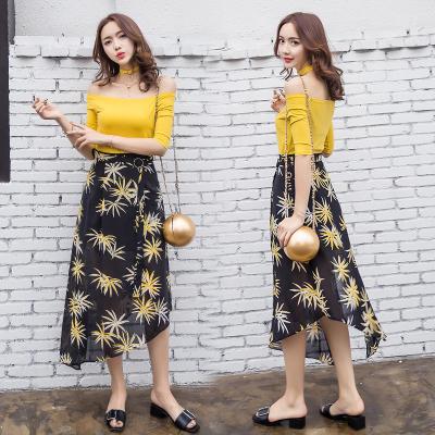 艾珂依 2017夏季女装时尚修身露肩t恤女碎花中长款半身裙两件套 6702