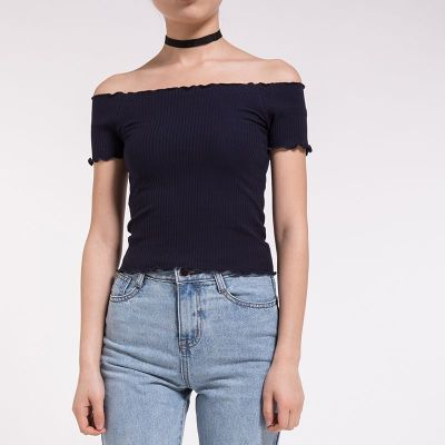 AE 2017一字领露肩短袖t恤女修身短款上衣 17089(秒杀款)