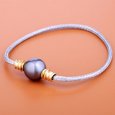 QS奇盛 纯银电黄金黑贝壳珠12mm QN5601