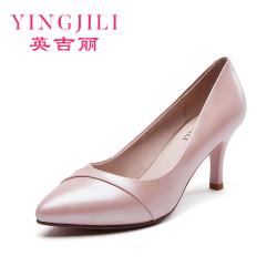 英吉丽 2017新款欧美真皮单鞋女高跟鞋中跟尖头细跟浅口职业女鞋 82270546