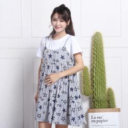 2017夏季新款韩版竖条纹星星图案孕妇装假两件连衣裙 R6365