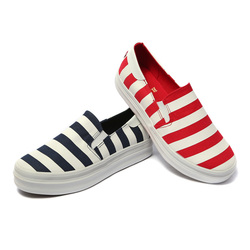 一步赢 韩版休闲舒适条纹帆布鞋 w166336