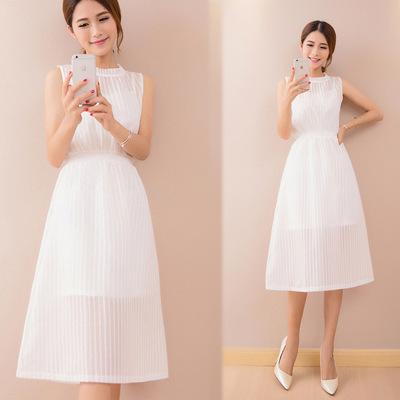 恩黛 显瘦欧根纱两件套无袖连衣裙韩版女装时尚气质长裙F6517