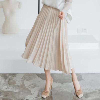 乔致奈莫 2017新款百搭时尚雪纺中长款a字百褶不规则半身长裙子 B310