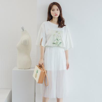 乔致奈莫 2017新款时尚套装潮宽松短袖中长款t恤连衣裙两件套 Q-105354