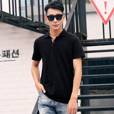 【男款】民鸿 男装t恤男短袖纯棉翻领POLO衫男士夏季纯色韩版修身半袖体恤