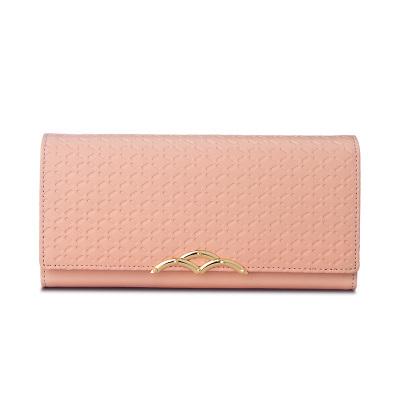 每度 女式长款钱包 牛皮时尚休闲手拿包三折搭扣手抓包皮夹子 MWS160722