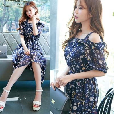 恩黛 2017新款韩版短袖修身显瘦吊带时尚雪纺连衣裙 Q047F6936