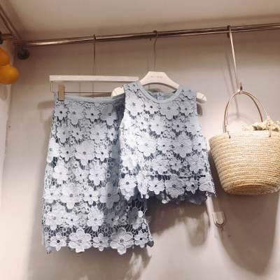 hong style 春夏网红同款气质甜美蕾丝裙两件套 193866