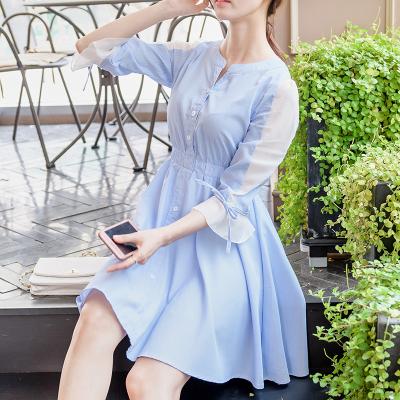 恩黛 实拍2017秋季新款韩版女装七分袖连衣裙斜纹甜美中裙荷叶边 Q047F6976