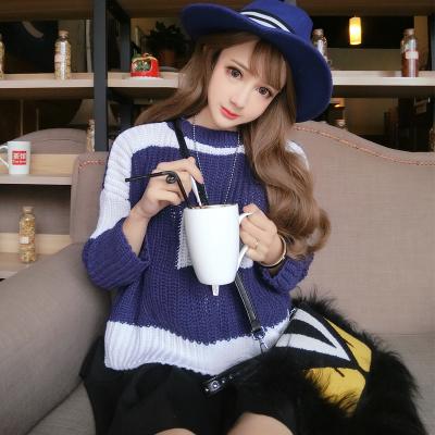 曼羽信 新款韩版撞色宽松针织衫百搭学院风长袖套头毛衣女潮 1640