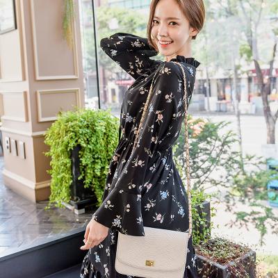 恩黛 2017秋季新款韩版女装长袖印花连衣裙中长款碎花女裙Q047F6959