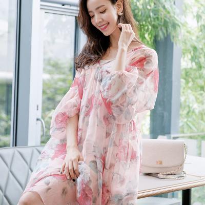 恩黛 实拍2017秋装新款韩版长袖印花雪纺连衣裙 宽松两件套长裙 Q047F6997
