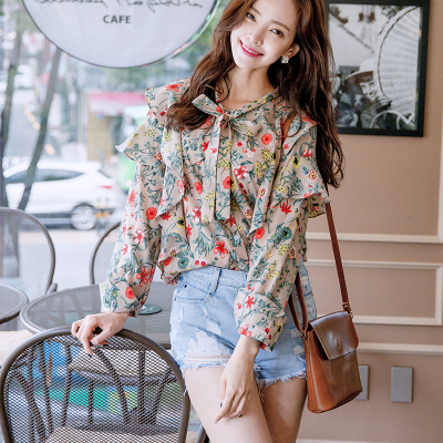 恩黛 实拍2017秋季新款韩版女装宽松印花上衣荷叶边系带长袖T恤 Q047F6994