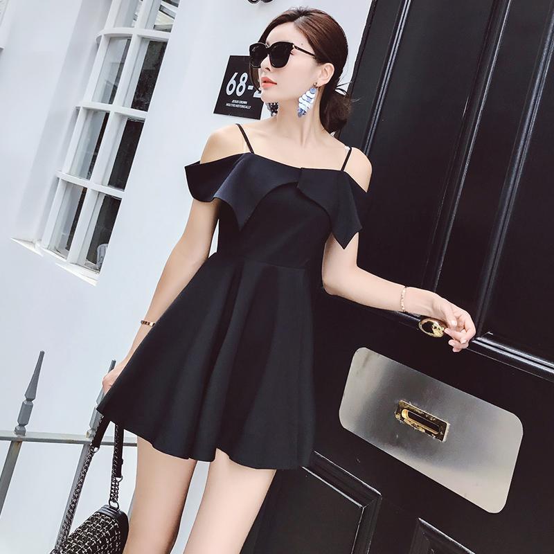 hong style小黑裙显瘦吊带无袖a字裙小性感气质露肩连衣裙   9582