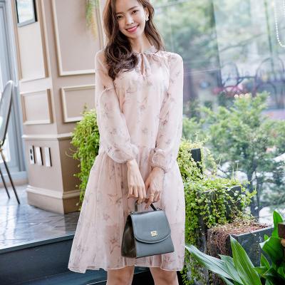 恩黛 实拍2017秋季新款女装韩版灯笼袖长袖两件套雪纺连衣裙 Q047F6996