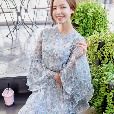 恩黛 实拍2017秋季新款韩版长袖雪纺连衣裙 印花圆领甜美中长裙 Q047F6977