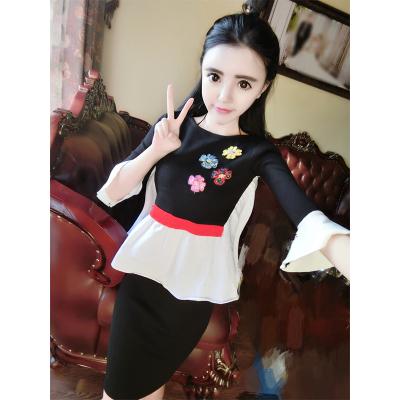曼羽信 实拍秋冬新款韩版拼接长袖上衣+包臀显瘦半身裙两件套连衣裙 0777