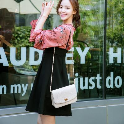 恩黛 实拍2017秋季新款女装韩版长袖雪纺连衣裙 两件套吊带裙 Q047F6952
