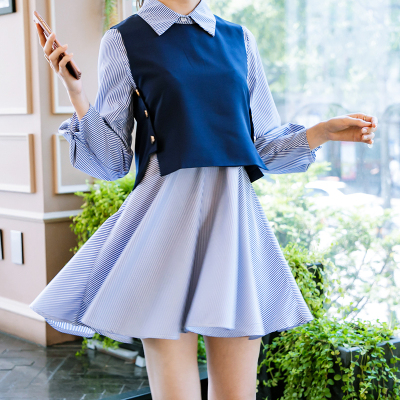恩黛 2017秋季新款韩版女装两件套连衣裙女长袖条纹马甲套裙Q047F6949