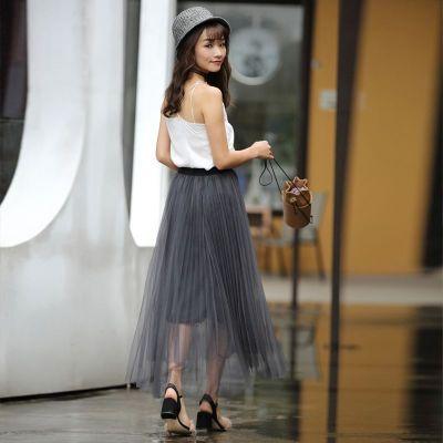 批发 不包邮 2017年秋季新款修身百搭百褶纱裙半身纱裙 QS076