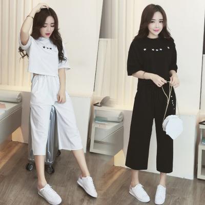 2017夏季新款韩版学生短袖女装小香风休闲阔腿裤两件套时尚套装女