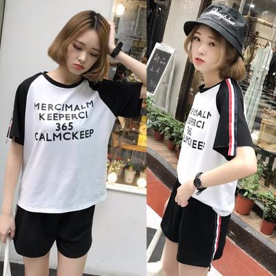女人志 实拍韩版运动休闲套装女短袖T上衣+阔腿短裤时尚两件套学生潮848