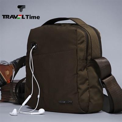 TRAVEL TIME男士休闲商务防水布单肩包斜跨包横式手提包